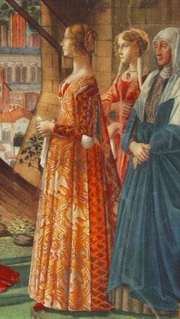Domenico Ghirlandaio,La Visitación,detalle 1452.Santa Maria Novella.Capilla Tornabuoni., Florencia.