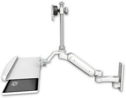 ウォールマウント 壁面固定 ガススプリング内蔵 昇降式 ディスプレイキーボード用ワークステーションアーム:ASUL180EV7-W3-KUB-AS1