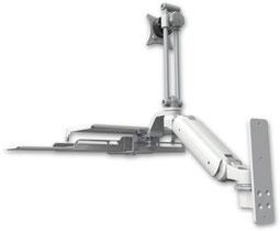 ウォールマウント 壁面固定 ガススプリング内蔵 昇降式 ディスプレイキーボード用ワークステーションアーム ワークサーフェス付:ASUL180EV7-W3-KUS