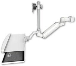 ポールマウント 支柱取付 ガススプリング内蔵 昇降式 ディスプレイキーボード用ワークステーションアーム :ASUL180IEV7-P17-KUB
