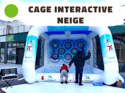 Location jeu interactif gonflable avec lancer de boules de neige hiver sur cibles tactiles
