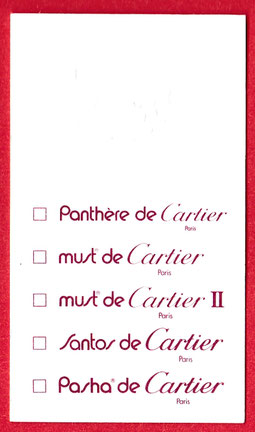 CARTIER - CARTE MULTI-FRAGRANCES : VERSO