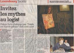 Un excellent titre pour un article qui parle de spectacles joués à domicile : Invitez les mythes au logis ! pour Thésée, une légende grecque.