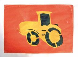Siebdruckbild - gelber Traktor mit schwarzen Reifen und schwarzem Innenraum auf orangenem Hintergrund.