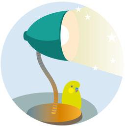 Eine Schreibtischlampe rückt Wichtiges ins Licht. Vektor Illustration. Adobe Illustrator.