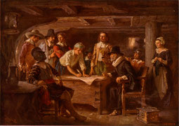 Ferris, Jean Leon G. The Mayflower Compact 1620. PD-Art-prior1923-USA