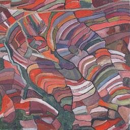 Felder in Indonesien,  80x80 cm, 2011,  Akryl auf Leinwand