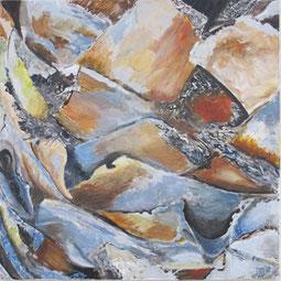Palmenstamm (Detail), 80x80 cm, 2011,  Akryl auf Leinwand