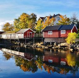 Umgebaute alte Fischerhütte des Svinoya Rorbuer Hotels