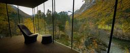 Blick aus einem Zimmer des Juvet Landscape Hotels