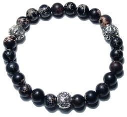 BEHERO Designer Armband Shenlong (schwarzer Howlith)