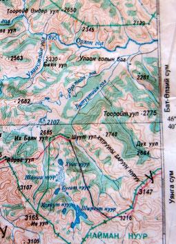 Carte Naiman Nuur Khangai Mongolie