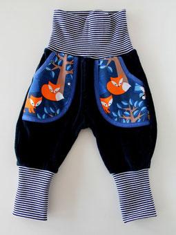 Haremshose Pumphose Frida Nicky mit Taschen dunkelblau + Nightfox Fuchs Lillestoff - designed by Lumpenprinzessin