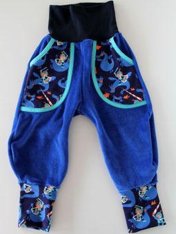 Haremshose Pumphose Frida Nicky mit Taschen blau + Drachen Lillestoff - designed by Lumpenprinzessin