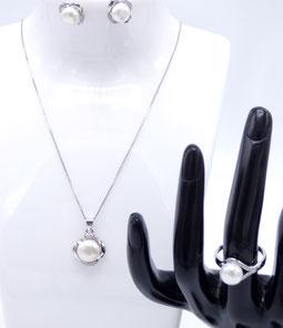 bijoux, parure femme en perle de culture et argent bijou pour le 14 février
