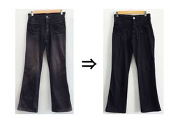 ▲綿98%不明2% イタリア製パンツ 装飾に破れあり