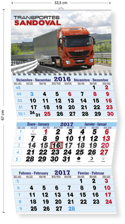 Calendario publicitario 3 meses plegable mediante hendidos