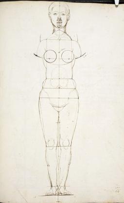 (Bild 8) Albrecht Dürer, Skizze eines weiblichen Körpers, MS 5228 fol. 142r (verso mit Durchzeichnung), British Library / London