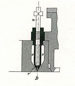 Rudolf Diesel, erstmals im April 1892 vorgeschlagene Einspritzdüse mit Kammer, spätere Reinzeichnung