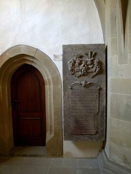 Die Grabplatte des Traudisch (Trautitz) in der St. Johanniskirche in Schweinfurt - bitte vergrößern!