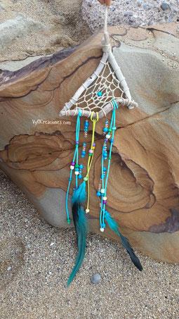 atrapasueños azul, atrapasueños, atrapasueños madera, decoración hippie, maderasdelmar.com, maderas del mar