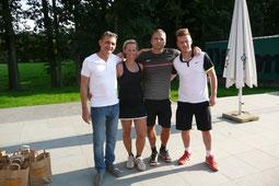 Organisatoren Rudy, Cindy, Kurt en Jan van het BK dubbel 2015 in Geel.