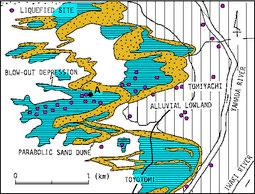 図1 冨ヤチ付近の巨大噴砂孔(遠藤ほか、1987)