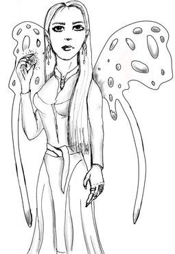 Eine Wunschfee mit Flügeln, die magische Kräfte besitzt. Sie wirkt schön und majestätisch, doch soll sie von Kummer erfüllt sein. In ihrem Reich sind Elfen, Einhörner und ander Fabelwesen daheim.