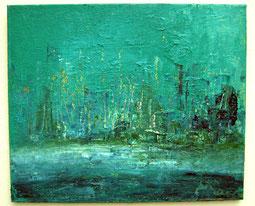Silhouette in Grün-Blau, 50 x 60 cm