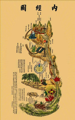 "Carte de notre trame intérieur ""Nei Jing Tu"""
