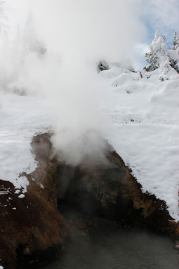 Dragon's Mouth in Yellowstone im Schnee