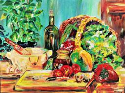 Les poivrons, peinture à l'huile, Claire ALLARD, nature morte