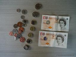 27,85 £ restliches Bargeld...