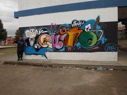 Ariel Anilema y su grafiti ganador a nivel del Distrito de Educación Quitumbe No. 7