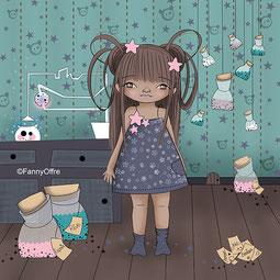 Illustration petite fille dans sa chambre de l'illustratrice Fanny Offre pour l'interview sur le site de Cloé Perrotin