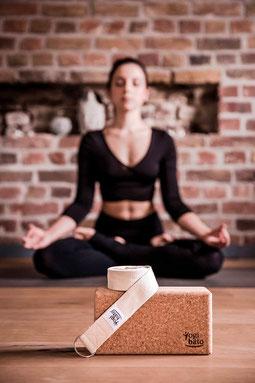 Yoga Starter Set - Natural Cork Block & Strap for Yoga, Pilates Fitness - Yoga Set Block & Strap by Yogibato