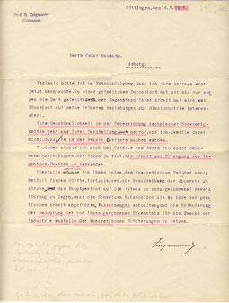 1910 Brief von Prof. Zsigmondy über seine Promotionsarbeit