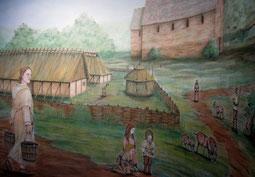 Dorfleben im Mittelalter, Rekonstruktionszeichnung