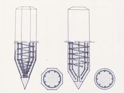 pali di fondazione in calcestruzzo armato - dotati di ghiera nell'estremità inferiore