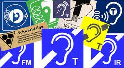 Collage von Ohr-Piktogrammen mit linken Ohren