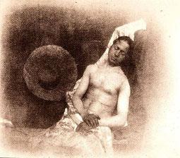 """Hippolyte Bayard, """"Selbstportrait als Ertrunkener"""" 1840. Societé Francaise de Photographie, Paris"""