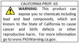 Exemple du nouvel avertissement 'New Safe Harbor' - Prop. 65
