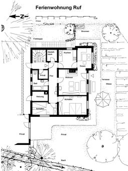 Grundriss der Ferienwohnung: 2 Schlafzimmer, Wohn- und Esszimmer, Küche, Bad und Abstellraum