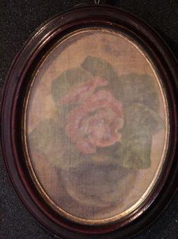 &ギャラリー展示・赤木範陸  1998年  混合技法  縦24.0×横18.0cm「窓辺の花」