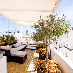 Roof terrace of our apartment in Ibiza