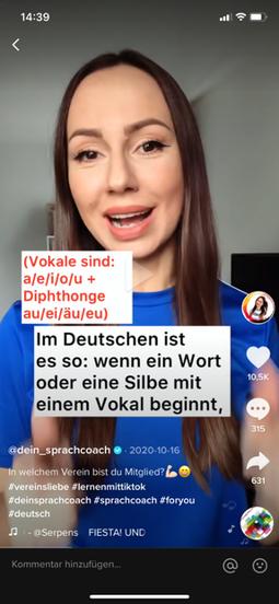 """Screenshot eines Tiktok-Videos von """"dein_Sprachcoach""""."""