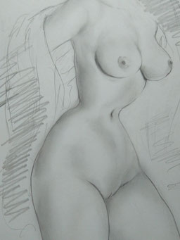 Female Nude Drawing 14-2-Kissing