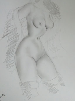 Female Nude Drawing 14-3-Kissing