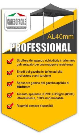 GAZEBO PIEGHEVOLE in alluminio PROFESSIONAL