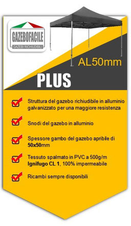 GAZEBO RICHIUDIBILE in alluminio PLUS